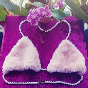 0dc1f23f7015e Pink fur bralette with pearl straps